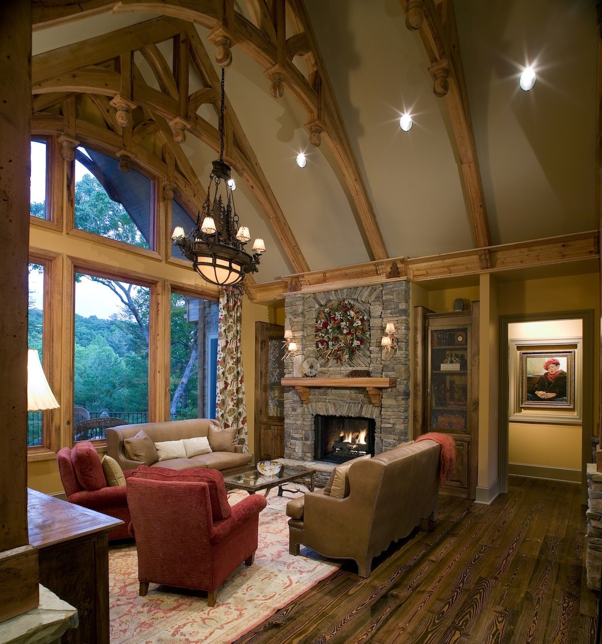 Fireplace in vaulted-ceiling Great Room in House Plan #198-1009