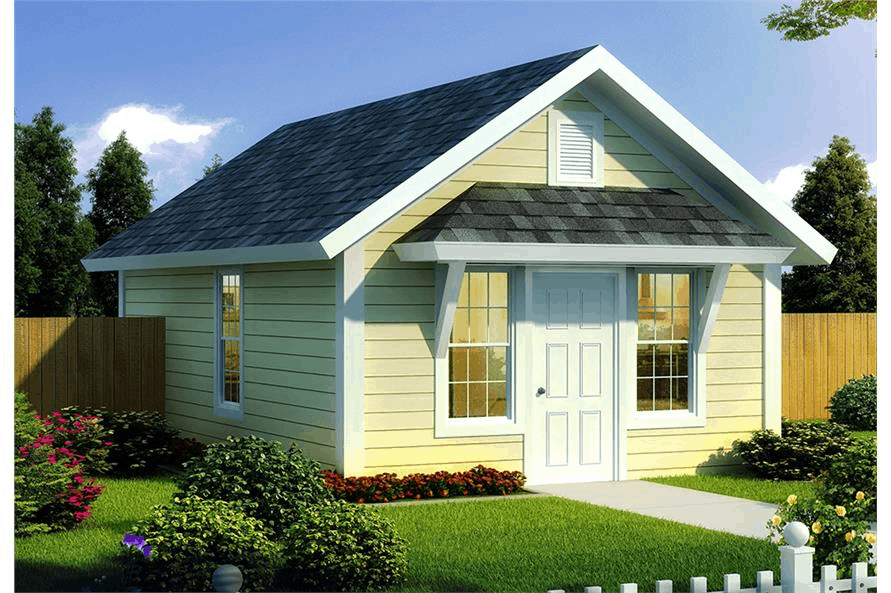 Yellow Cottage-style tiny home that could be a guest house or in-law suite