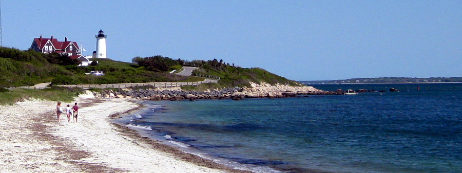 Beach and Nobska Point Lighthouse in Falmouth, MA