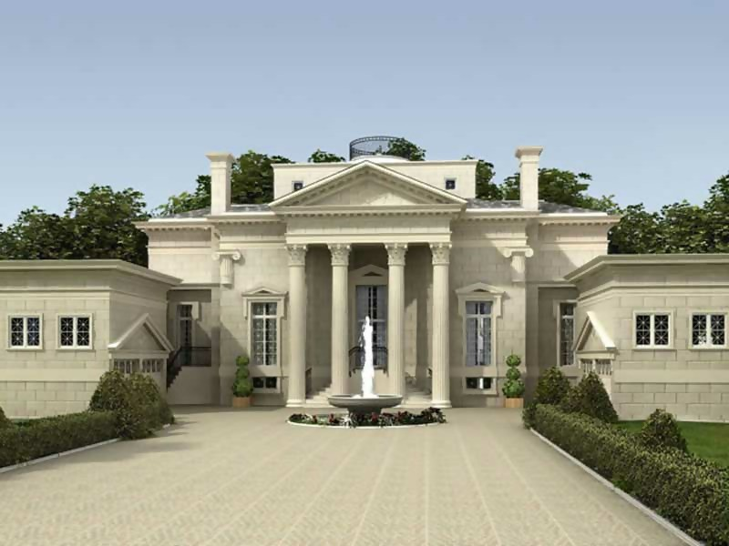 Luxury home with massive pediemnt-topped entrance with large Doric columns
