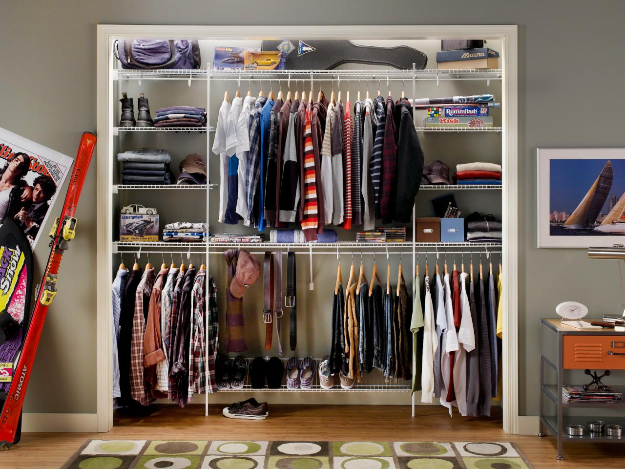 Teenager's closet with no doors