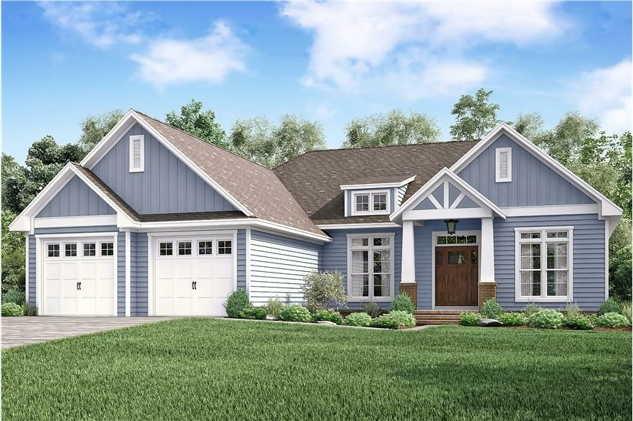 Transitional Craftsman style home with blue siding