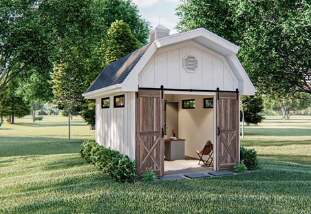 Gambrel-roof shed with white board-and-batten siding and double sliding barn doors