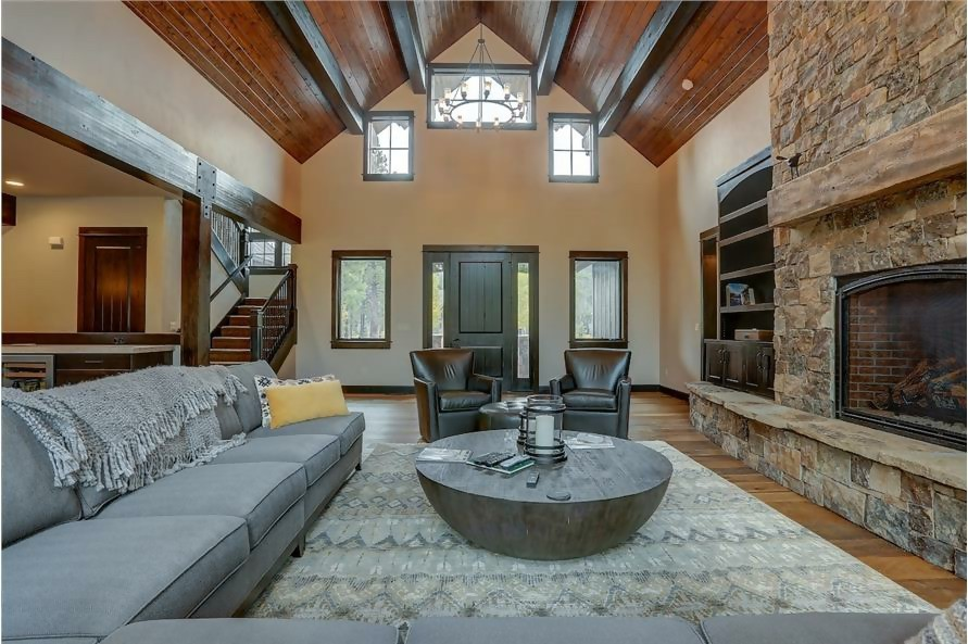 Great Room with vaulted ceiling in Arts & Crafts style home