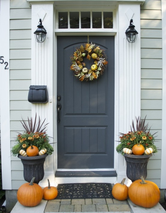 Front door decorated for autumn