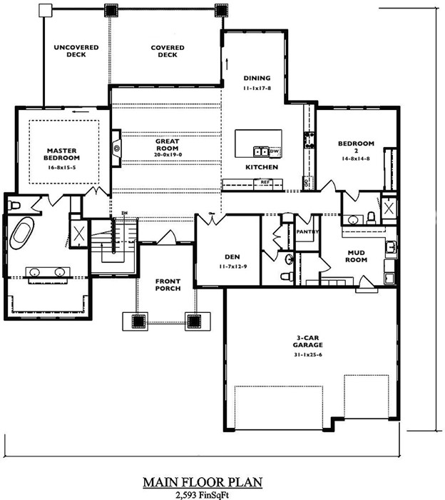 Floor plan of Contemporary Prairie style home (plan #161-1085) with large mud room