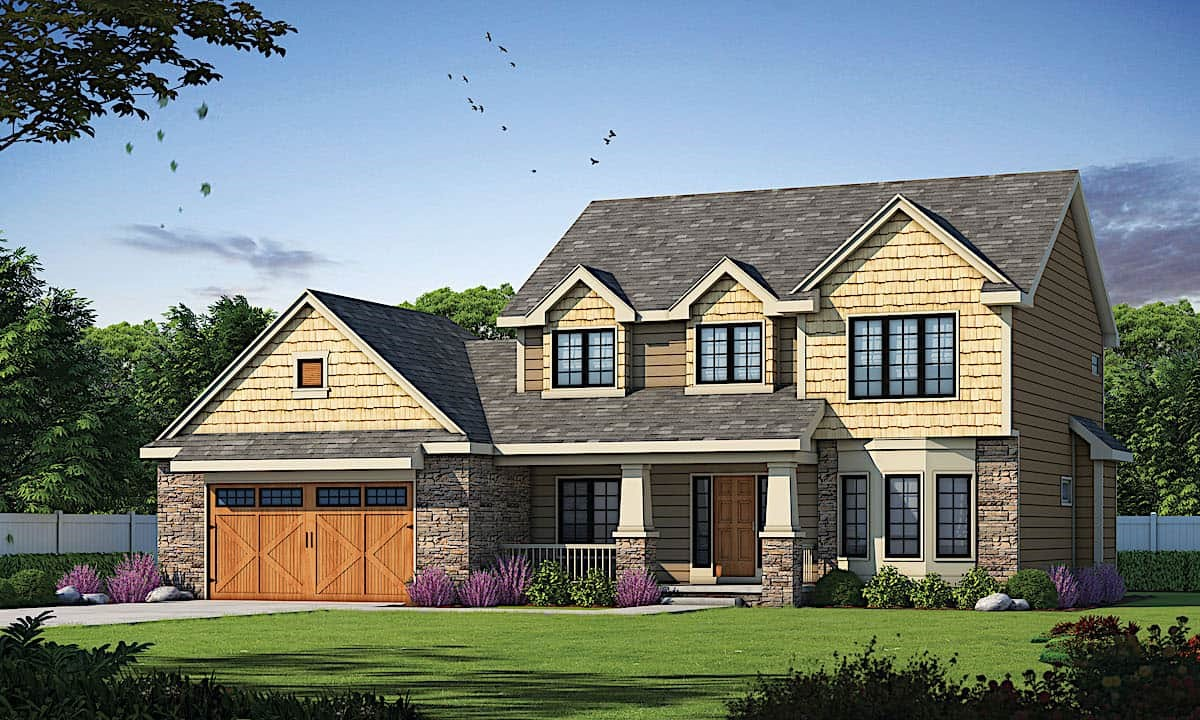 Traditional looking home with stacked-stone features and shingle siding