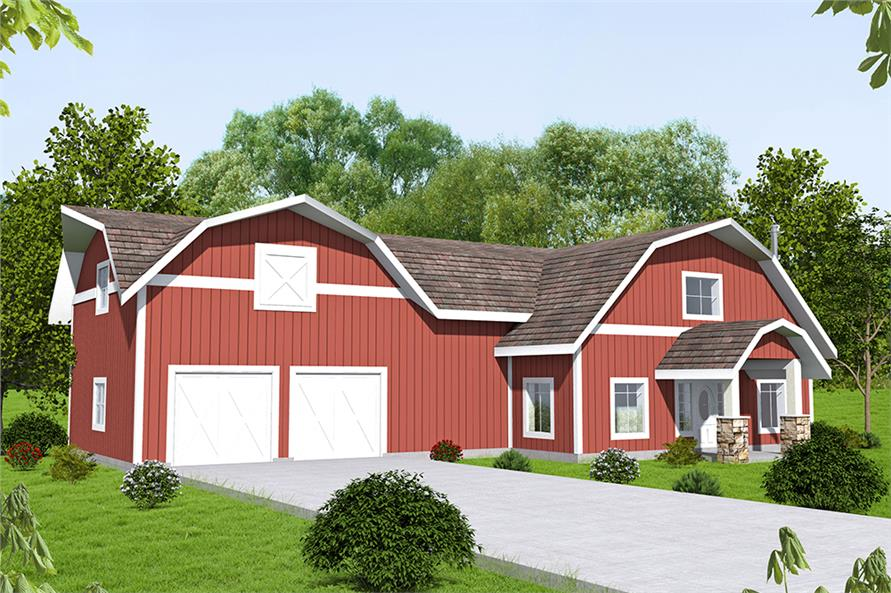 Two-story gambrel-roofed barn style home in red with 4 bedrooms and 3 baths