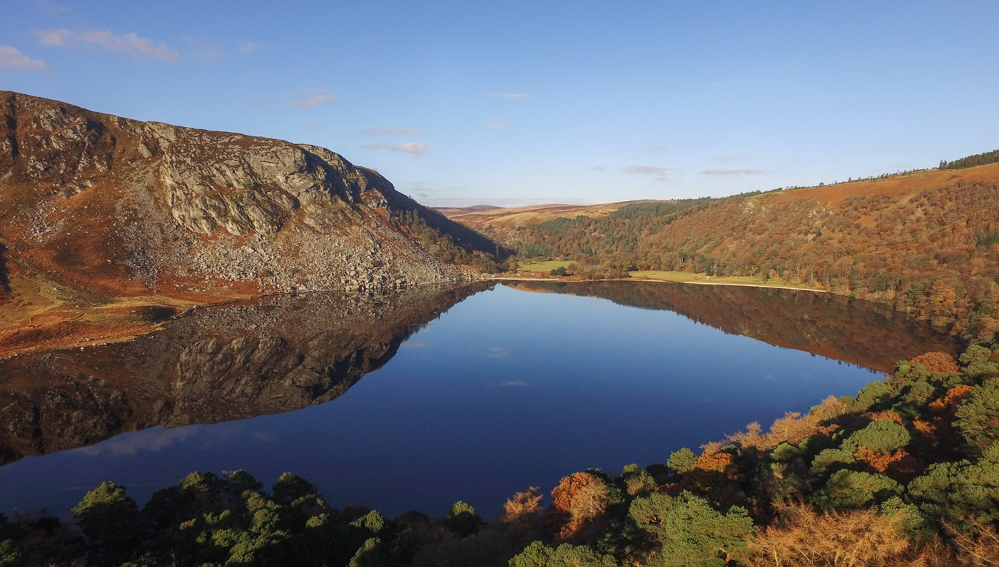 Serene lake near Luggala Estate in Ireland