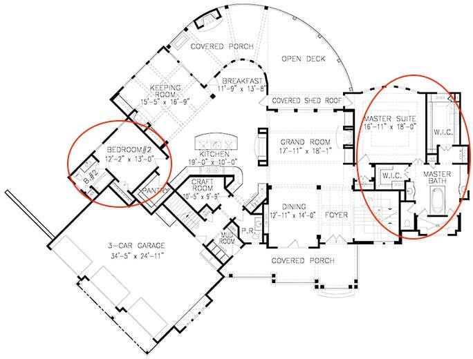 Main-level floor plan of Cottage style plan #198-1066 showing 2 bedroom suites