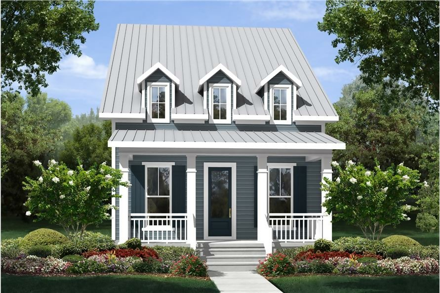 Narrow Cottage style home reminiscent of Shotgun houses found in the South