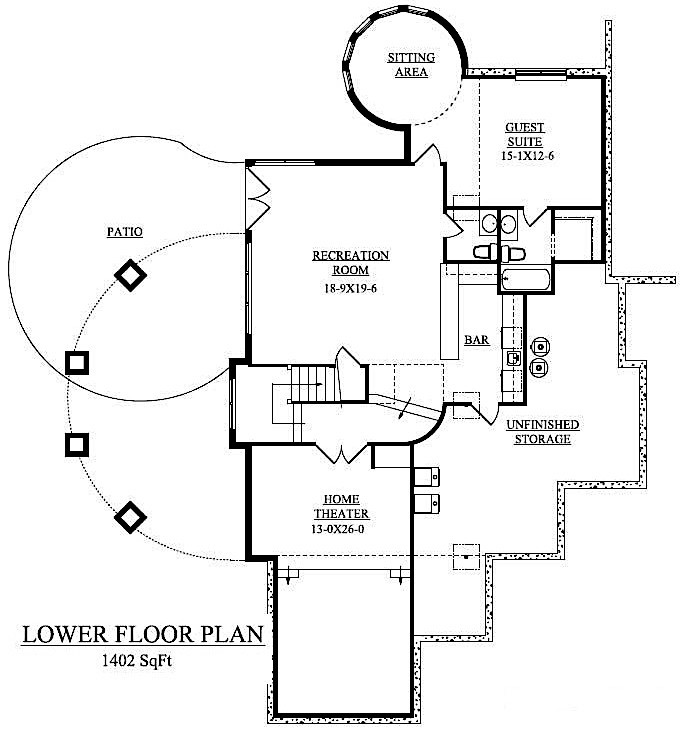 Walkout basement floor plan of home plan #161-1038