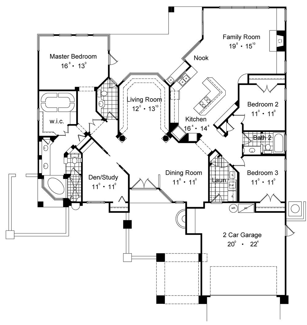Lovey Florida style floor plan with formal living room, family room and study. From The Plan Collection.