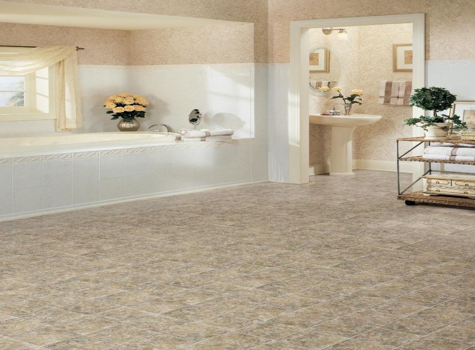 Slate-look vinyl flooring in a bathroom