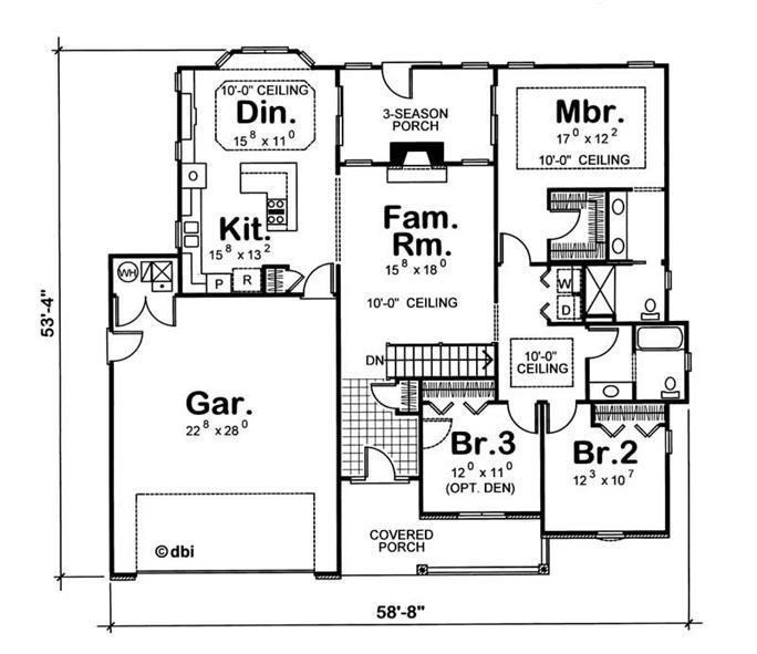 Floor plan of 1-story plan #120-1272