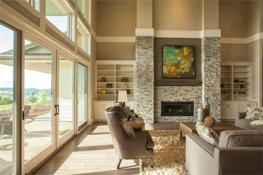 Stone fireplace in contemporary Great Room