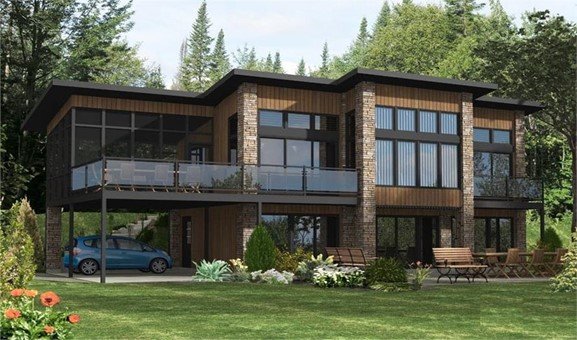 Modern home with plenty of tall windows that provide lots of natural light and dramatic views