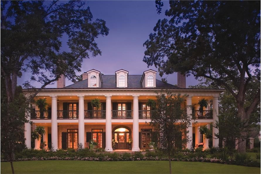 Southern Colonial style home with two-story front porch and massive columns