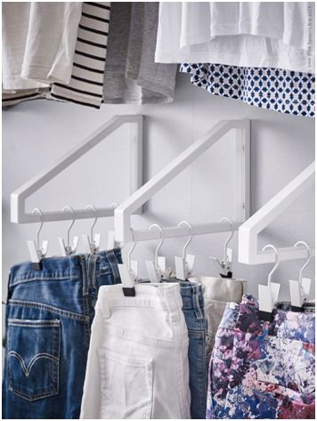 Shelf brackets as small clothing hanger rods