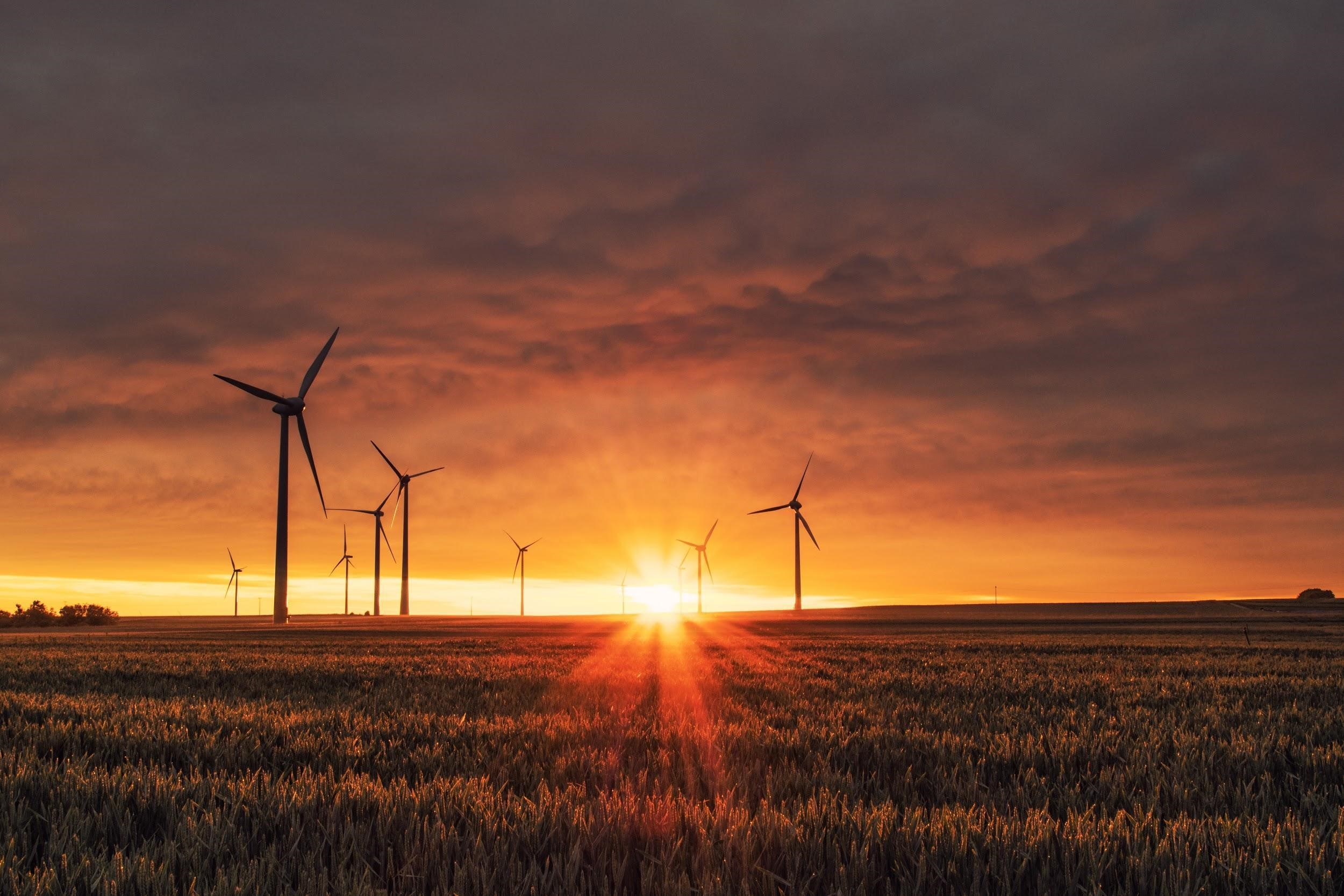 Sunset view of wind turbines in Germany