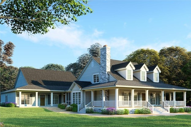 Beautiful Farmhouse style home with clapboard siding, three front dormers, and wrap-around porch