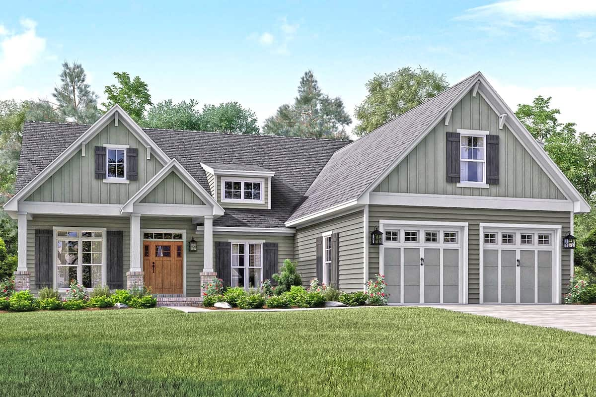 3-Bedroom, 2004 sq ft country home plan #142-1158 with bonus room