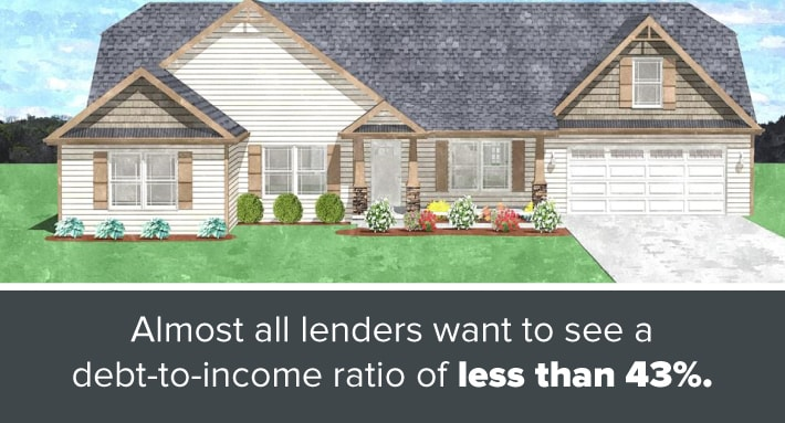 Traditional home with front-facing garage and a label about debt-to-income ratio