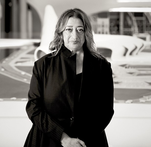 Zaha Hadid in Heydar Aliyev Cultural center in Baku, Nov. 2013