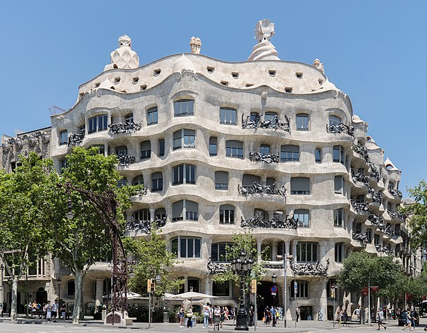 Antonio Gaudi's Casa Mila apartment building in Barcelona, Spain