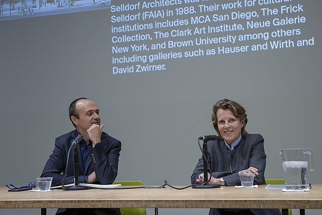 Annabelle Selldorf at a lecture with Jorge Otero-Pailos