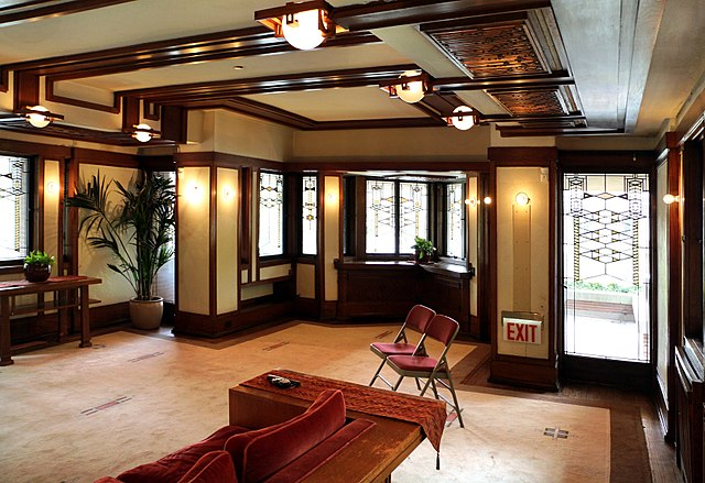 Open floor plan of Frederick C. Robie house in Chicago