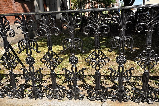 Wrought-iron railing outside Gardner Pingree House in Salem, MA