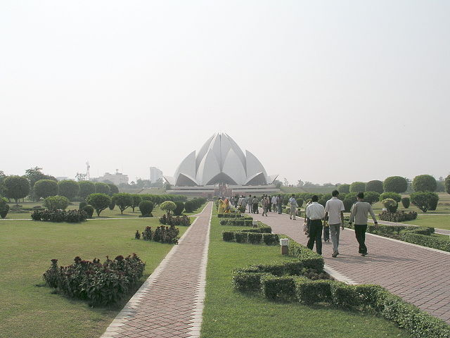 Lotus Temple in New Delhi seen from a distance