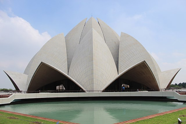 Lotus Temple in New Delhi, India, seen close up