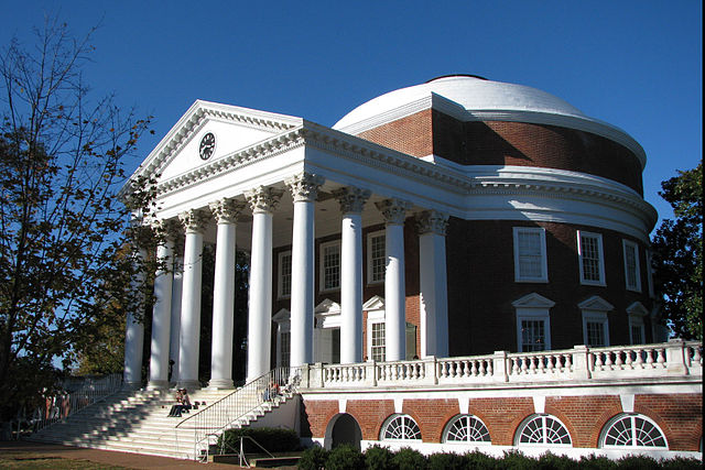Rotunda at the University of Virginia, built by Thomas Jefferson to resemble a Roman temple