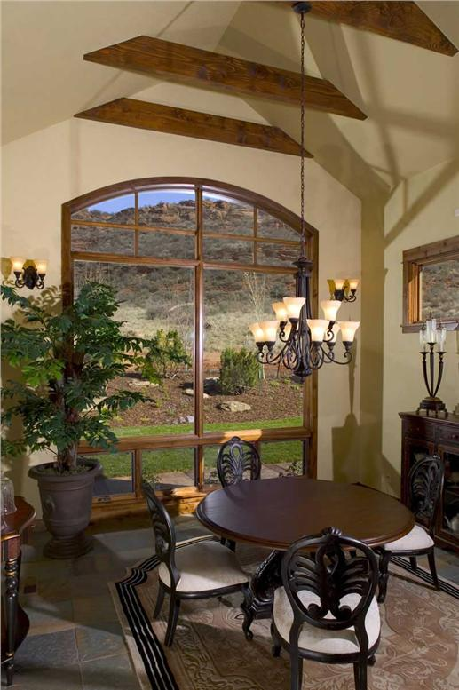 Breakfast nook with view of outside through large window
