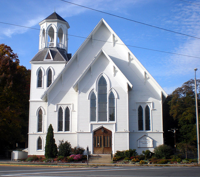 Baptist church in Methuen, Massachusetts, in Carpenter Gothic style