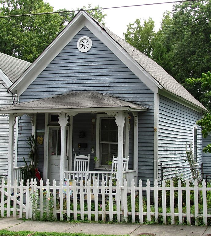 Gray shotgun style house in Nashville, Tennessee