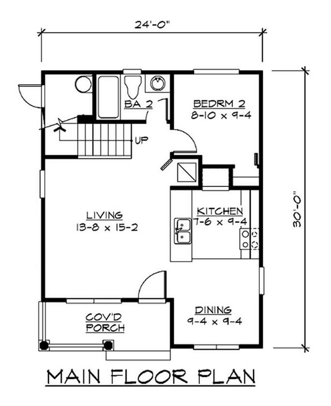 Main level floor plan of Plan #115-1371