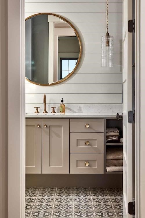 Beautifully designed bathroom  a classic and simple space  in a 1.5-story, 4-bedroom Farmhouse style