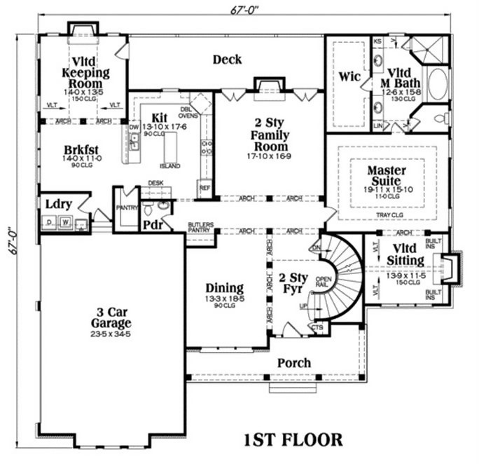 Main-level floor plan of Colonial Plan #104-1067