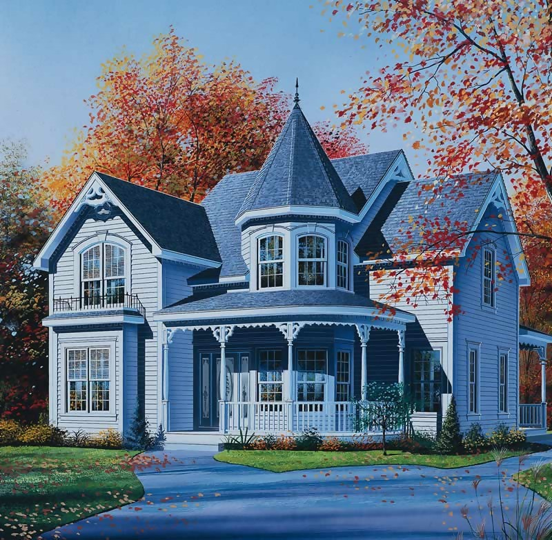 Monochrome gray Victorian home with gable roof, cut woodwork, decorative trim on front porch, brackets that attach trim to porch posts, and a turret