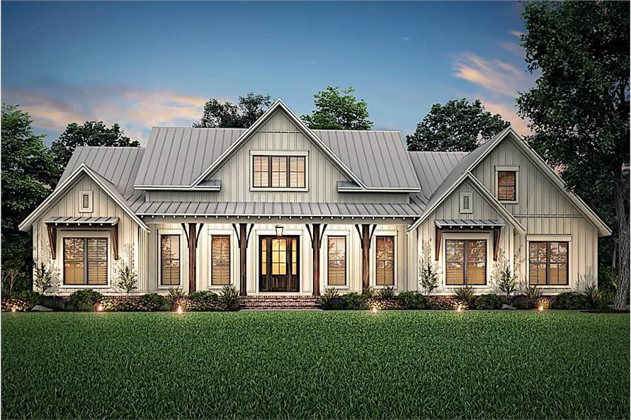 Well lighted Modern Farmhouse style home with front porch and metal roof