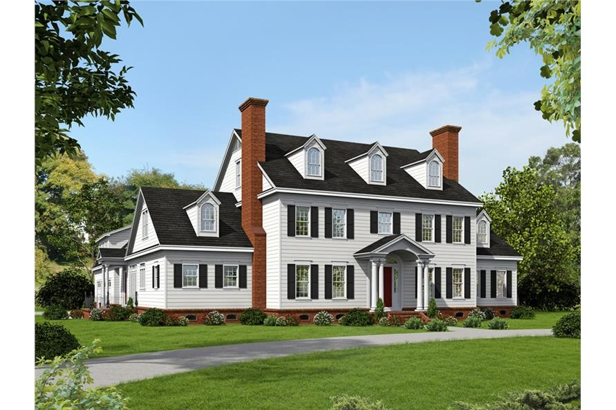 Grand Colonial style home with white siding, black window shutters and 3 dormers