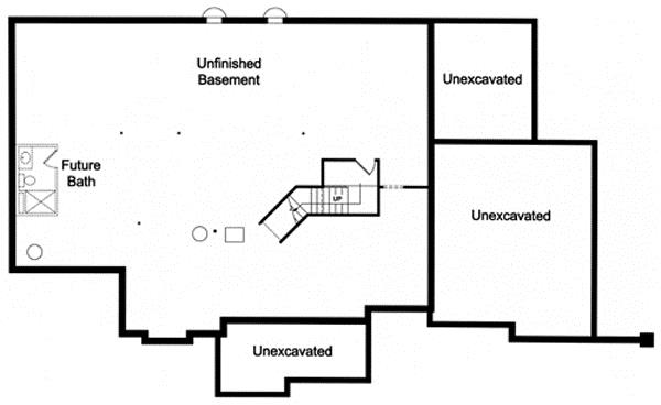 Basement floor plan of this 3-bedroom home