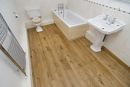 Bathroom with engineered wood flooring