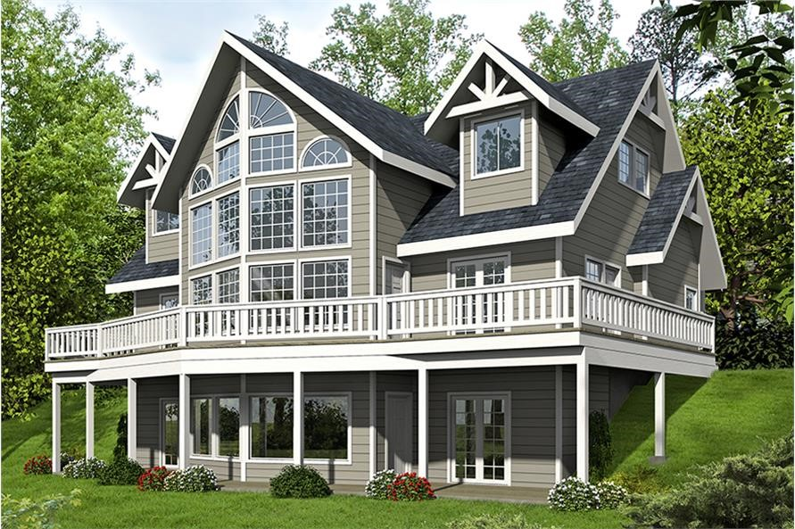 Contemporary style home with wrap-around rear deck and lots of windows