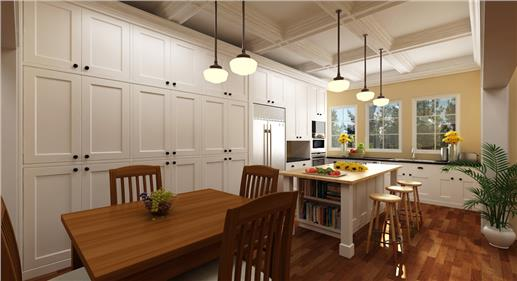 Floor-to-ceiling built-in wooden cabinets make this spacious kitchen look more roomy and airy