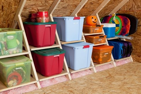 Built-in attic storage system