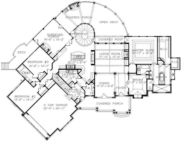 Floor plan of one-story Luxury Craftsman style home  plan #198-1001